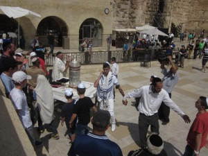 This celebration took place beside the Western Wall.