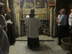 A Franciscan led us in the Our Father at the cave of Jesus' birth.