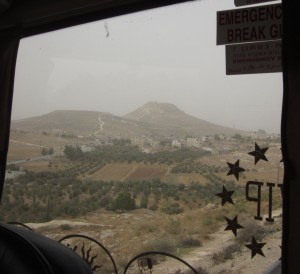 Herodium is the man-made mountain to the right.