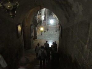 We descended to the cavern underneath the Holy Sepulchre where three crosses were found.