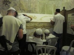 Hasids pray at King David's Tomb.