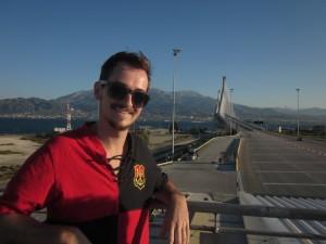We just crossed the Charilaos Trikoupis Bridge.