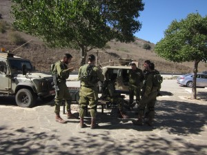 Soldiers rested at Avital Volcanic Park.