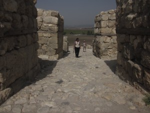 The gate of Megiddo overlooks a valley.