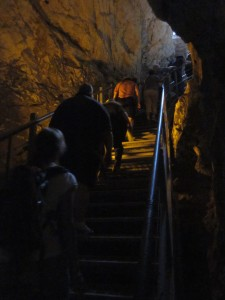 We climbed out of the dry water tunnel.