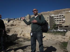 Husam Jubran stands before Mt. Gerizim.