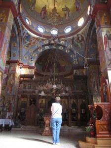 Bridget contemplates the icons at Tabgha.